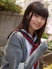 Yuuri Shiina Asian in school uniform is so cute while walking - Erotic and nude girls pics at SoloTeenPics.com