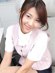 Naoho Ichihashi Asian in fancy outfit sits with ass on the office - Erotic and nude girls pics at SoloTeenPics.com