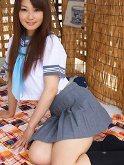 Misaki Nito Asian in school uniform goes to classes riding bike - Erotic and nude girls pics at SoloTeenPics.com
