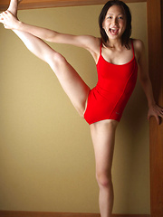 Kaori Ishii Asian busty in red gym suit shows how flexible she is - Erotic and nude girls pics at SoloTeenPics.com
