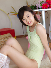 Kana Yuuki Asian in spandex outfit and socks plays with circle - Erotic and nude girls pics at SoloTeenPics.com