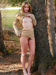 Teen beauty embraces a golden autumn outdoors naked - Erotic and nude girls pics at SoloTeenPics.com