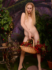 Amazing petite blonde gives you a taste of heaven as she poses naked holding her bag of fruits. - Erotic and nude girls pics at SoloTeenPics.com