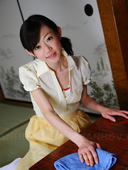 Young servant Aoba Itou poses in her lingerie - Erotic and nude girls pics at SoloTeenPics.com