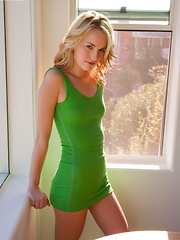 Cute blonde Sara James in green dress candidly spreading her pussy - Erotic and nude girls pics at SoloTeenPics.com