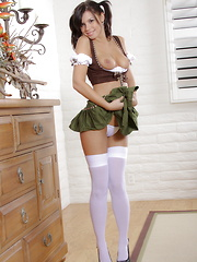 Destiny Moody looking  sweet as Grandma's strudel in her traditional German girl outfit - Erotic and nude girls pics at SoloTeenPics.com