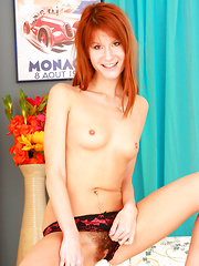 Sexy Redhead Candy S. Bangs her Hairy Pussy with a Vibrator