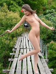 She feels a great joy as she shows something new and amazing that she had hidden right between those long legs.