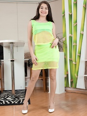 Bellavitana strips off yellow dress and lingerie - Erotic and nude girls pics at SoloTeenPics.com