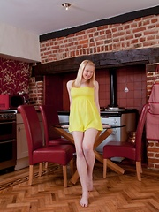 Gorgeous hairy blonde Tegan Jane in the kitchen - Erotic and nude girls pics at SoloTeenPics.com