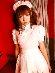 Lovely gal Mahiru Tsubaki in a sexy uniform