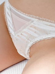 Risa Aika Asian with cute smile shows crack in thong under skirt