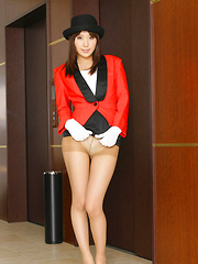 Rin Sakuragi Asian takes costume off and shows hairy poonanie