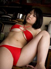 Rui Kiriyama Asian shows very hot bum and very big tits in red - Erotic and nude girls pics at SoloTeenPics.com