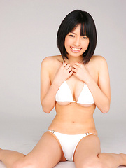 An Mashiro Asian shows sexy curves in white lingerie for pics - Erotic and nude girls pics at SoloTeenPics.com