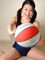 Misaki Asian babe in swimming suit jumps with slit on big ball - Erotic and nude girls pics at SoloTeenPics.com